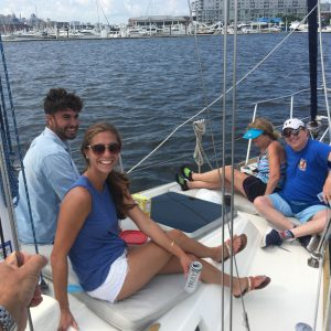 Relaxing on the bow - sailing charter in Baltimore
